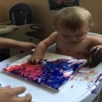 infant finger painting 2